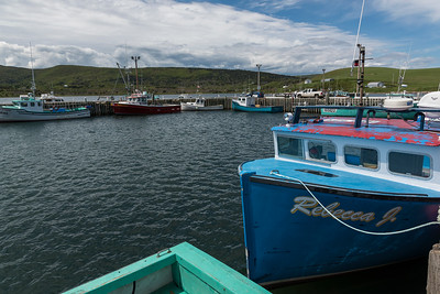 Fishing trawlers moored at harbor, St. Francis Harbour, Cape Breton Island, Nova Scotia, Canada