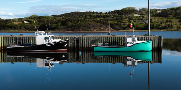Fishing trawlers moored at dock, Inverness Harbour, Mabou, Cape Breton Island, Nova Scotia, Canada