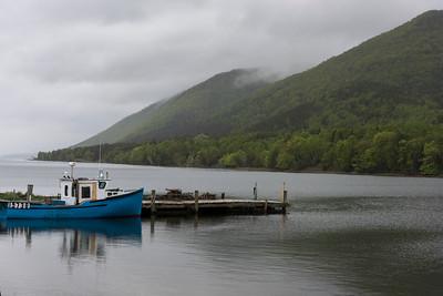 Fishing trawler moored at dock, Englishtown, Cape Breton Island, Nova Scotia, Canada