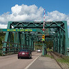 Cars moving on bridge, Port Hastings, Cape Breton Island, Nova Scotia, Canada
