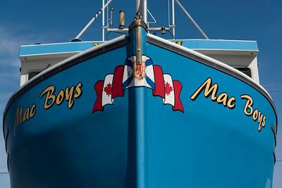 Fishing trawler at harbor, Cheticamp, Cabot Trail, Cape Breton Island, Nova Scotia, Canada