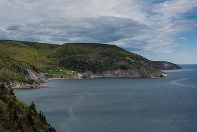 Scenic view of coastline, Meat Cove, Cape North, Cabot Trail, Cape Breton Island, Nova Scotia, Canada