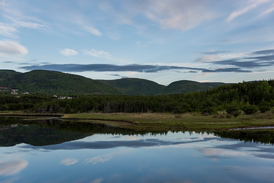Scenic view of river with mountains in background, Margaree River, Cabot Trail, Cape Breton Island, Nova Scotia, Canada