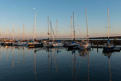 Sailboats at marina, Spinnakers Landing, Summerside, Prince Edward Island, Canada