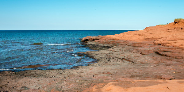 Rock formations at coastline, Cavendish Beach, Green Gables, Prince Edward Island, Canada