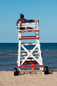 Lifeguard stand on Cavendish Beach, Green Gables, Prince Edward Island, Canada