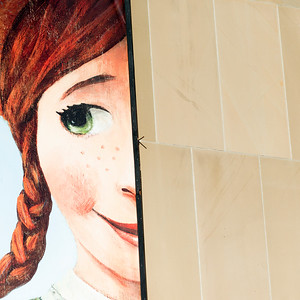 Painting of Anne of Green Gables on a wall, Charlottetown, Prince Edward Island, Canada