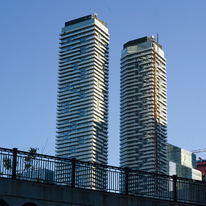 Low angle view of skyscrapers, Harbour Plaza Residences, Toronto, Ontario, Canada