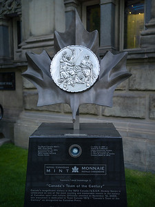 Royal Canadian Mint 1997 Silver Dollar outside museum, Hockey Hall of Fame, Toronto, Ontario, Canada