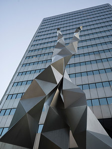 Low angle view of sculpture outside building, Toronto, Ontario, Canada
