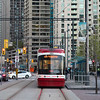 View of tram on tramway in the city, Toronto, Ontario, Canada