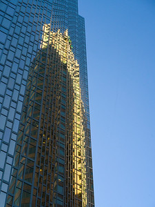 Reflection of a building on skyscraper, Toronto, Ontario, Canada