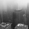 Skyscrapers in city covered in fog, Toronto, Ontario, Canada
