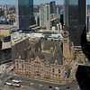 High angle view of Old Town Hall with modern buildings, Toronto, Ontario, Canada