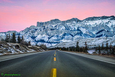 Sunset along Highway 16 in Jasper