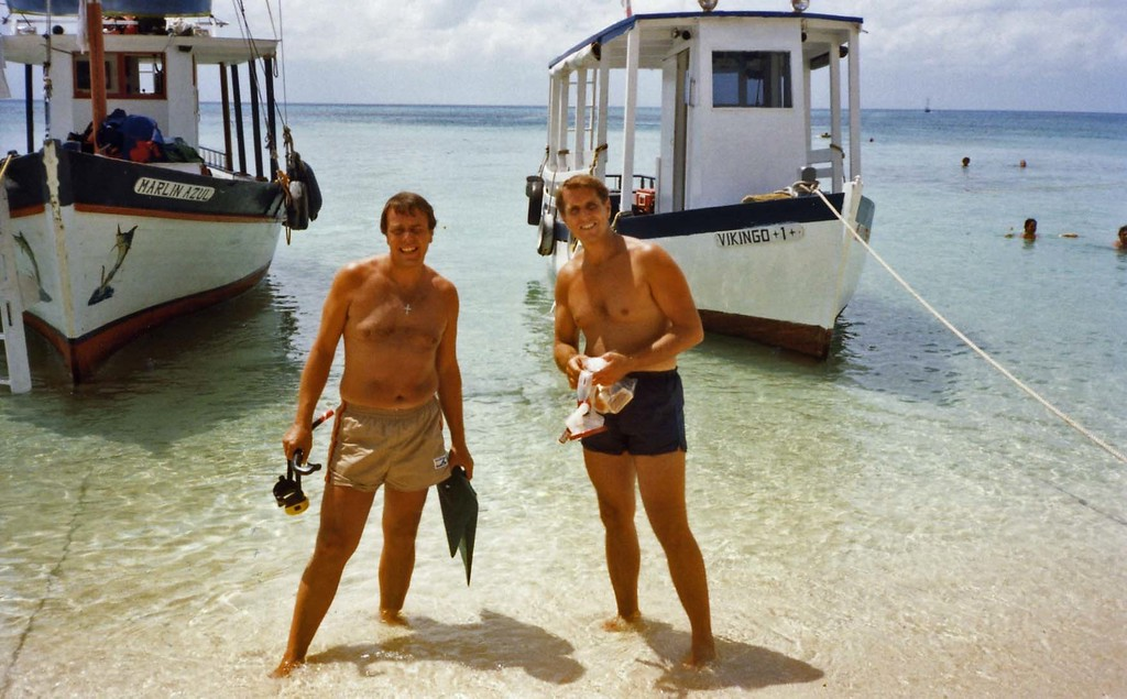 Lloyd and Tom going snorkeling, Trip to Cazumel and Cancun, Mexico, August 20-27, 1983