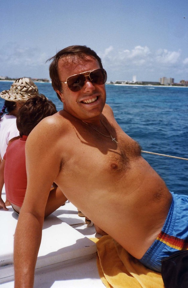 Lloyd relaxing on deck, Trip to Cazumel and Cancun, Mexico, August 20-27, 1983