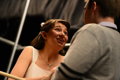 Fremont Civic Theater Actors Katie Garcia, left, and Landen Racine rehearse a scene from their upcoming play 'The Fantasticks' Tuesday at the Washington Elementary School. Jeff Shane/ Daily Record