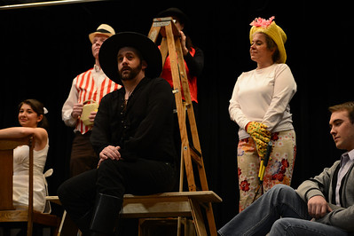 Fremont Civic Theater Actors Katie Garcia, left, Jay Fredrick, Drew Frady, Susan Frady, Jennifer Fredrick and Landen Racine rehearse a scene from their upcoming play 'The Fantasticks' Tuesday at the Washington Elementary School. Jeff Shane/ Daily Record