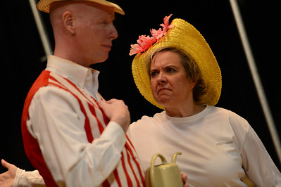 Fremont Civic Theater Actors Jay Fredrick, left, and Jennifer Fredrick rehearse a scene from their upcoming play 'The Fantasticks' Tuesday at the Washington Elementary School. Jeff Shane/ Daily Record