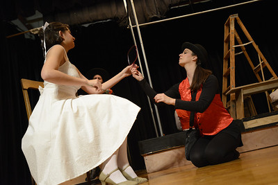 Fremont Civic Theater Actors  rehearse a scene from their upcoming play 'The Fantasticks' Tuesday at the Washington Elementary School. Jeff Shane/ Daily Record