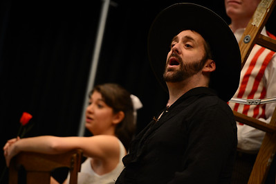 Fremont Civic Theater Actor Drew Frady  rehearses a song from their upcoming play 'The Fantasticks' Tuesday at the Washington Elementary School. Jeff Shane/ Daily Record