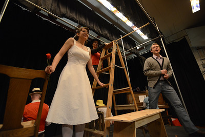 Fremont Civic Theater Actors Katie Garcia, left, Susan Frady, and Landen Racine rehearse a scene from their upcoming play 'The Fantasticks' Tuesday at the Washington Elementary School. Jeff Shane/ Daily Record