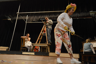 Fremont Civic Theater Actors Katie Garcia, left, Susan Frady, Landen Racine and Jennifer Fredrick rehearse a scene from their upcoming play 'The Fantasticks' Tuesday at the Washington Elementary School. Jeff Shane/ Daily Record