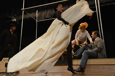 Fremont Civic Theater Actor rehearse a scene from their upcoming play 'The Fantasticks' Tuesday at the Washington Elementary School. Jeff Shane/ Daily Record