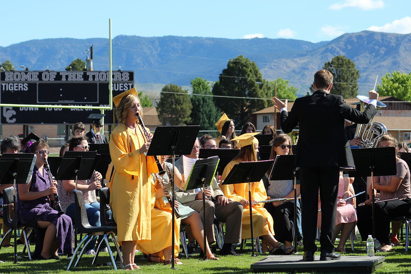 A Cañon City High School grad performs with the band during the 2016 commencement ceremony.