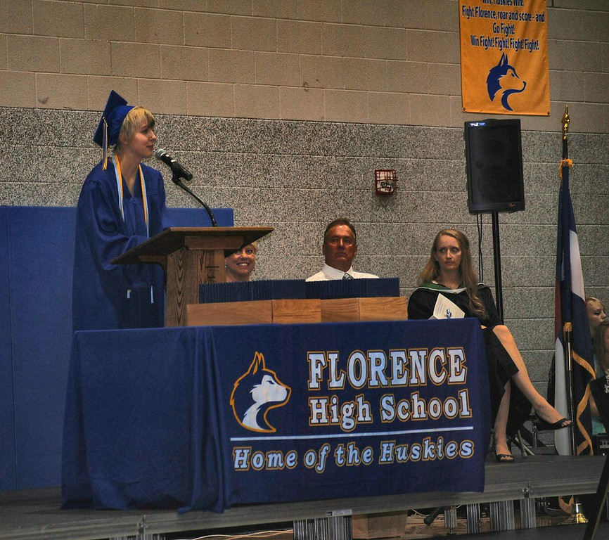 Salutatorian Taron Ruzanski welcomes graduates and guests Sunday to the FHS Class of 2016 graduation.