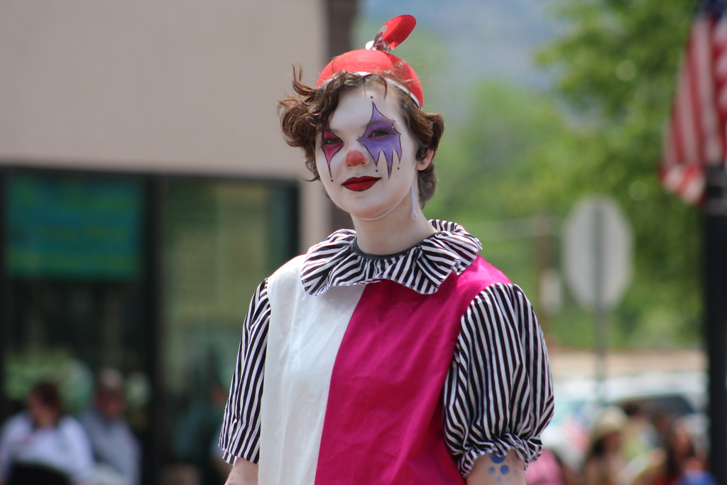 . A member of the Dark Side of the Abbey Haunted House makes his way Saturday through the 2017 Blossom Festival Parade.