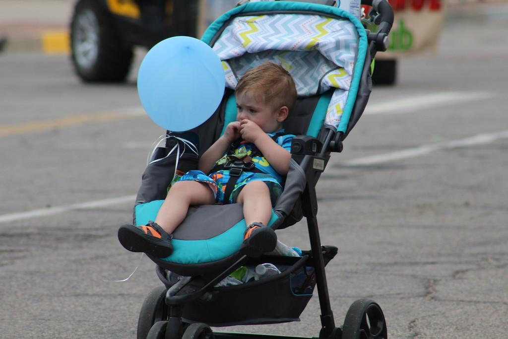 . A child rides along Saturday through the 2017 Blossom Festival Parade.