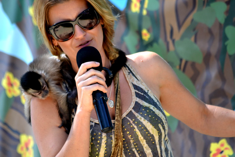 Martina Keith with a tiny monkey Saturday during the 'Wild about Monkeys' performance at the Colorado State Fair in Pueblo.