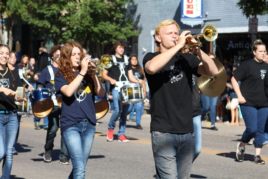 . Members of the Cañon City High School band play at the Pioneer day parade.