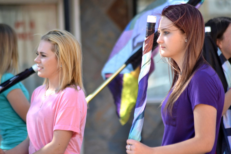 Students from the Florence Marching Band prepare to film a scene for the Netflix film, 'Our Souls at Night.'