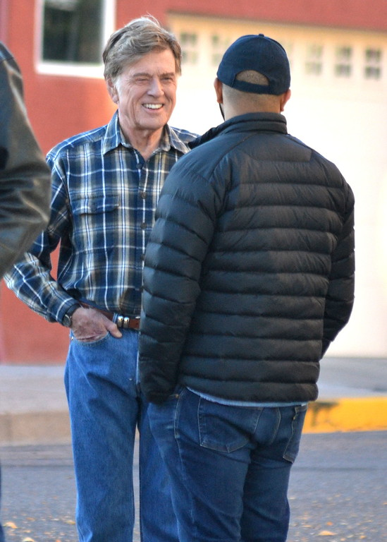 . Robert Redford talks with \'Our Souls At Night\' director Ritesh Batra Monday morning during filming for the Netflix movie in Florence.