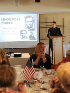 District Attorney Thom LeDoux speaks on Sunday at the Lincoln Day Dinner put on by the Fremont County Republican Central Committee at the Holy Cross Abbey. Brandon Hopper/Daily Record