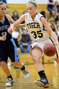Tigers sophomore Nicole Archambeau, right makes a move against Widefield's Kelsey Scurek Wednesday in the Tiger Dome. Jeff Shane/ Daily Record