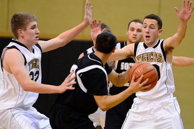 Tigers Logan Nethercot, left, and Blake Madone against Pueblo South in Canon City. Jeff Shane/ Daily Record