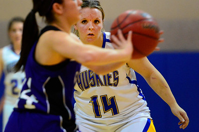 Huskies senior Amanda Shade plays defense against Salida's Jamie Granzella Friday in Florence. Jeff Shane/ Daily Record