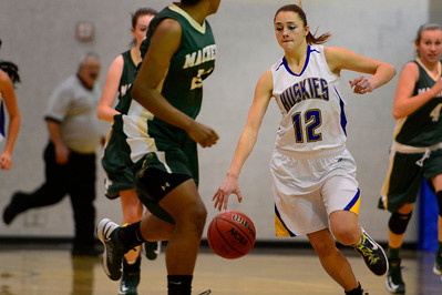 Husky Taylor Holland drives down court Monday against Bishop Machebeuf in Florence. Jeff Shane/ Daily Record