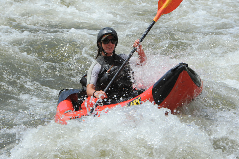 A kayaker goes through the Five Points rapids on the Arkansas River on Tuesday. Brandon Hopper/Daily Record