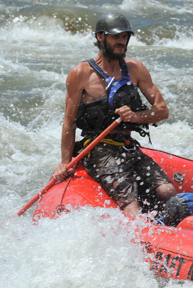 A raft guide leads his team through the Five Points rapids on the Arkansas River on Tuesday. Brandon Hopper/Daily Record