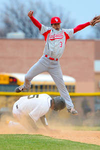 Tigers senior RJ Stainbrook slides into second against Pueblo Centennial at Justin Field. Jeff Shane/ Daily Record