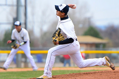 Tigers senior RJ Stainbrook delivers against Pueblop Centennial at Justin Field. Jeff Shane/ Daily Record