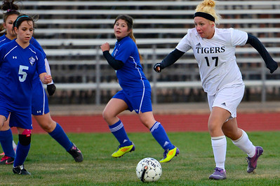 Tigers soccer player  against Pueblo Central. Jeff Shane/ Daily Record