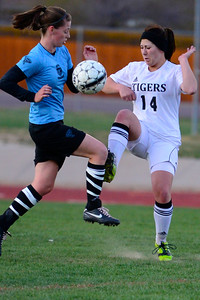 Tigers Bethany Leonard against Pueblo West Friday at Citizens' Stadium. Jeff Shane/ Daily Record