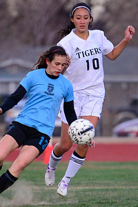 Tigers Tia Parker against Pueblo West Friday at Citizens' Stadium. Jeff Shane/ Daily Record