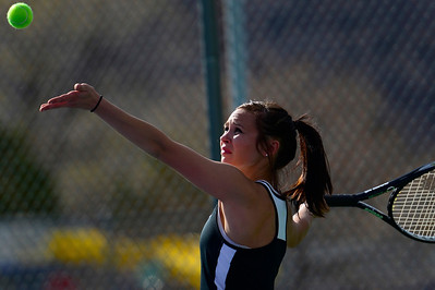 Tigers senior Brianna Lloyd serves Thursday against Pueblo County at Rudd Park. Jeff Shane/ Daily Record